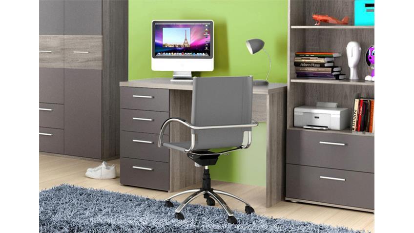 Schreibtisch JIMMY Computertisch Sonoma Eiche grau matt