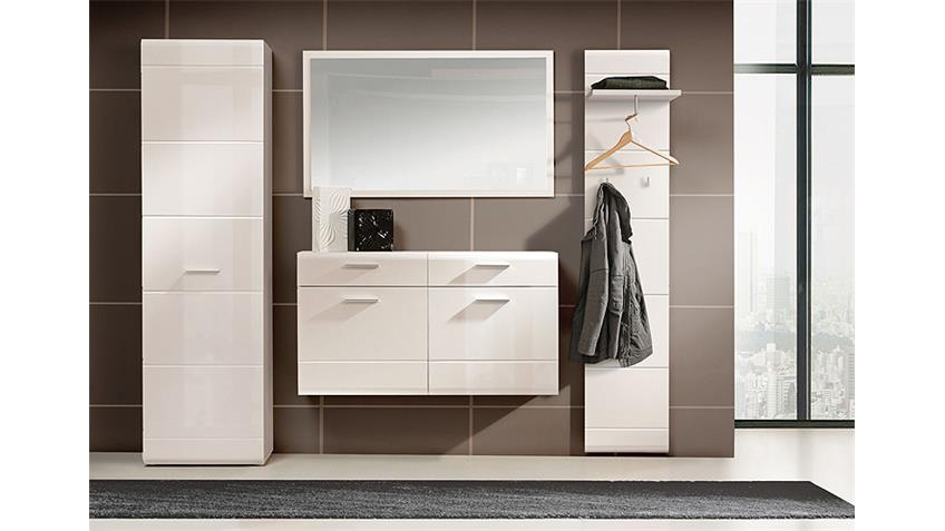 Garderobenschrank SLATE Schrank weiß Hochglanz und matt