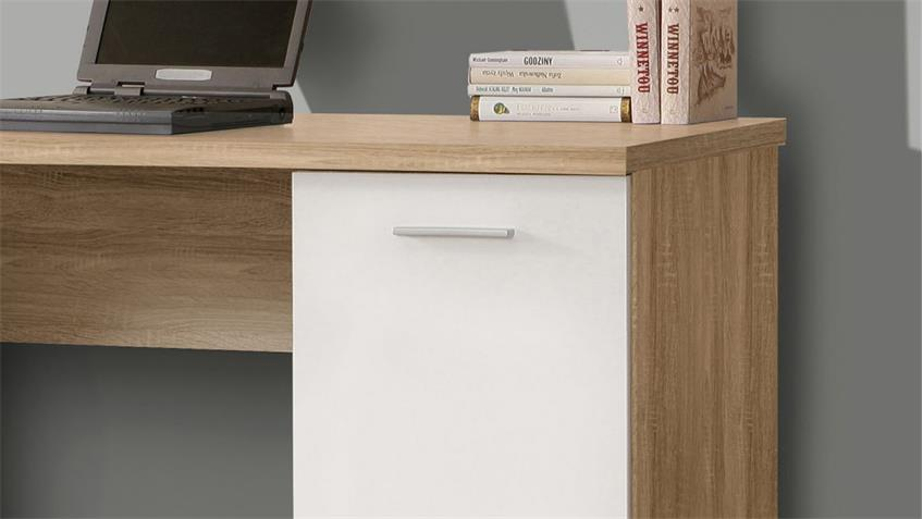 Schreibtisch NET106 Bürotisch in Sonoma Eiche und weiß matt 145x60 cm
