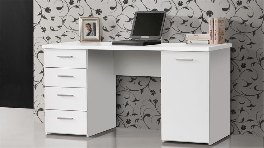 Schreibtisch NET106 Bürotisch Laptoptisch Tisch in weiß matt 145x60 cm