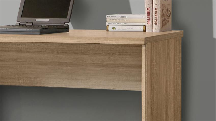 Schreibtisch NET106 Bürotisch in Sonoma Eiche und weiß matt 140x60 cm