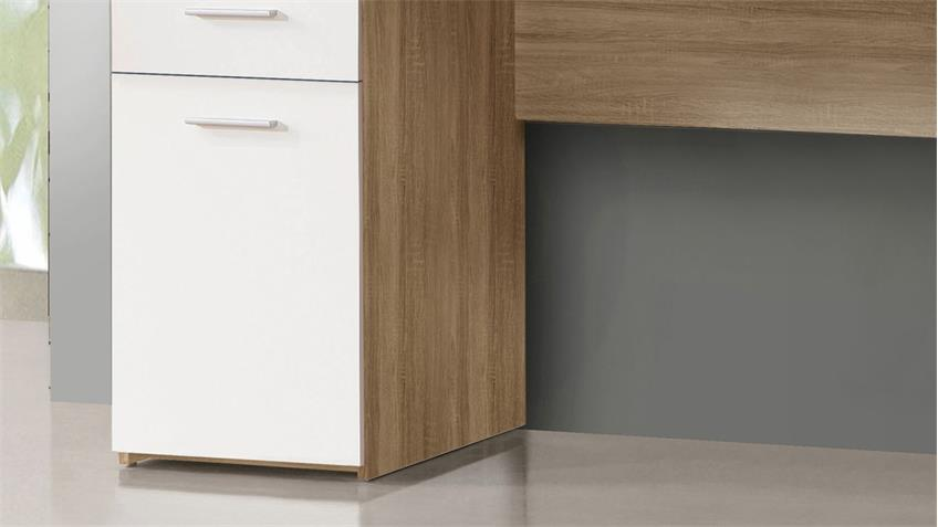 schreibtisch net106 in sonoma eiche und wei matt 140x60 cm. Black Bedroom Furniture Sets. Home Design Ideas