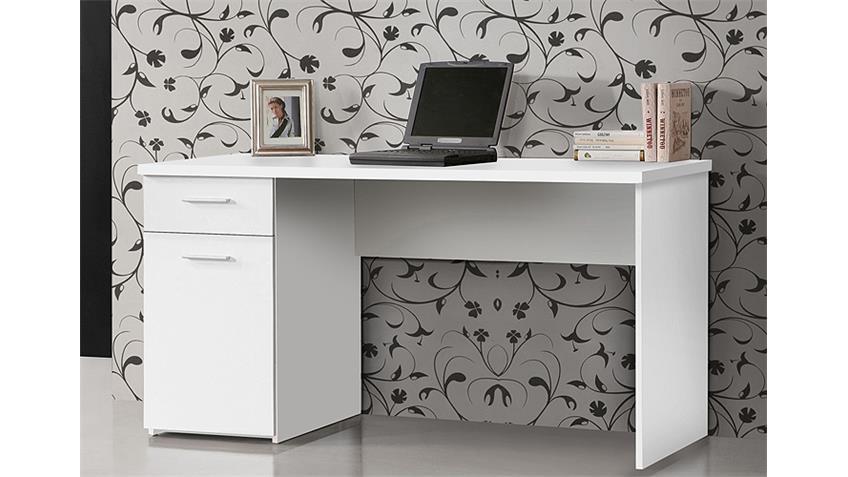 Schreibtisch 2 NET 106 Computertisch PC-Tisch in weiß matt