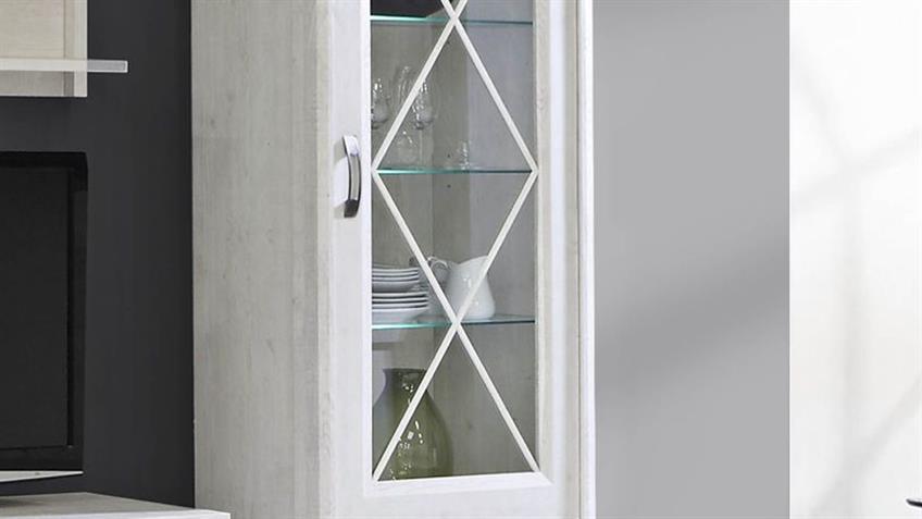 Wohnwand 4 KASHMIR Anbauwand in Pinie weiß inkl. LED