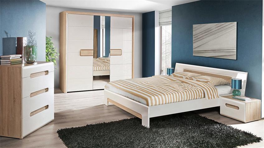 Bett TIZIANOS in weiß Hochglanz und Sonoma Eiche 180x200 cm