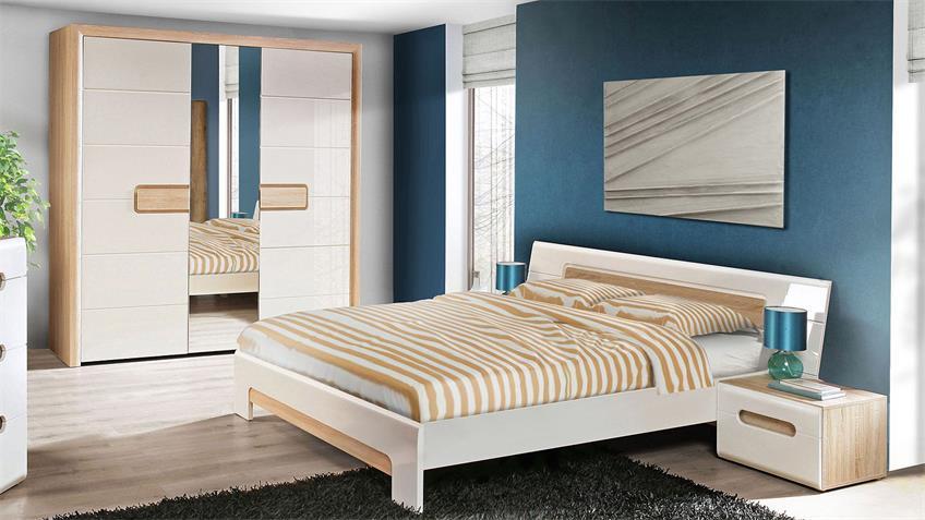 Schlafzimmer TIZIANOS Set in weiß Hochglanz Sonoma Eiche