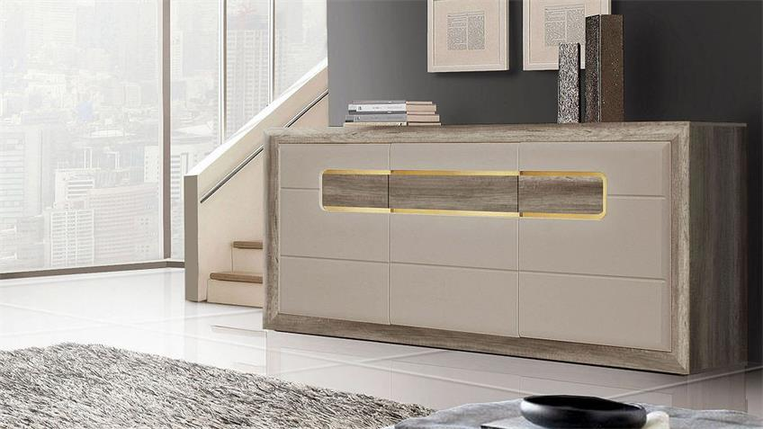 sideboard tizianos in beige hochglanz antik eiche mit led. Black Bedroom Furniture Sets. Home Design Ideas