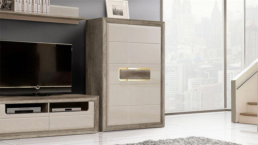 schrank tizianos in beige hochglanz antik eiche mit led. Black Bedroom Furniture Sets. Home Design Ideas