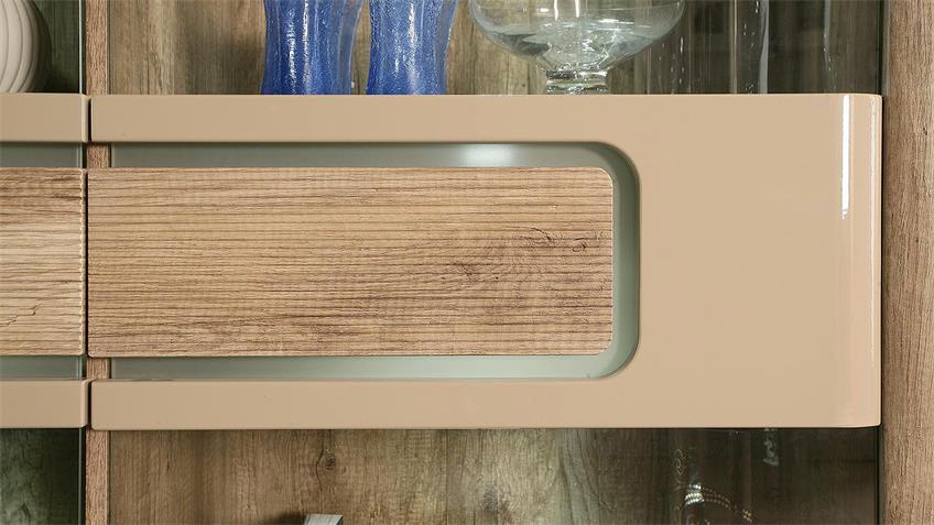 Vitrine TIZIANOS Highboard beige Hochglanz Antik Eiche LED