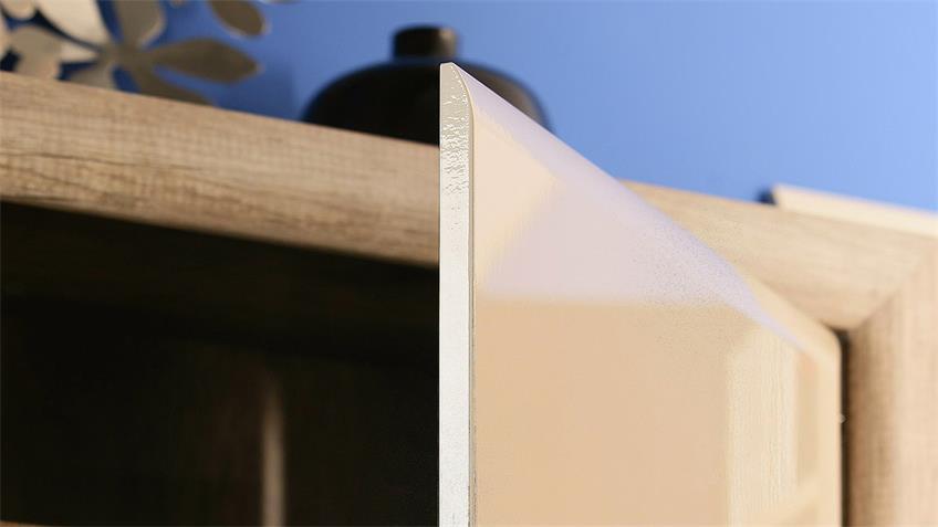 Vitrine 2 TIZIANOS Highboard beige Hochglanz Antik Eiche LED