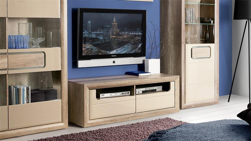 TV-Board TIZIANOS Lowboard in beige Hochglanz Antik Eiche