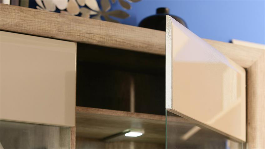Wohnwand 1 TIZIANOS in beige Hochglanz Antik Eiche mit LED