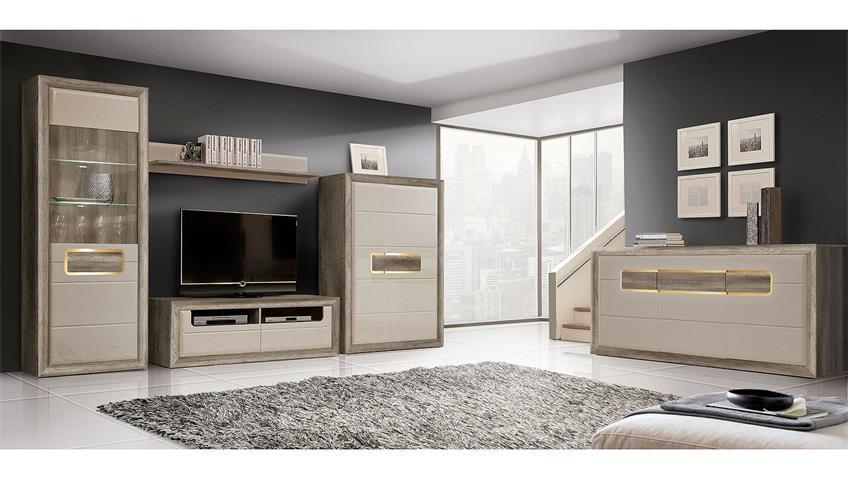 Wohnwand 2 TIZIANOS in beige Hochglanz Antik Eiche mit LED