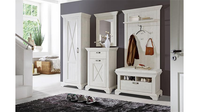 Schuhbank KASHMIR Bank Garderobe in Pinie weiß mit Kissen