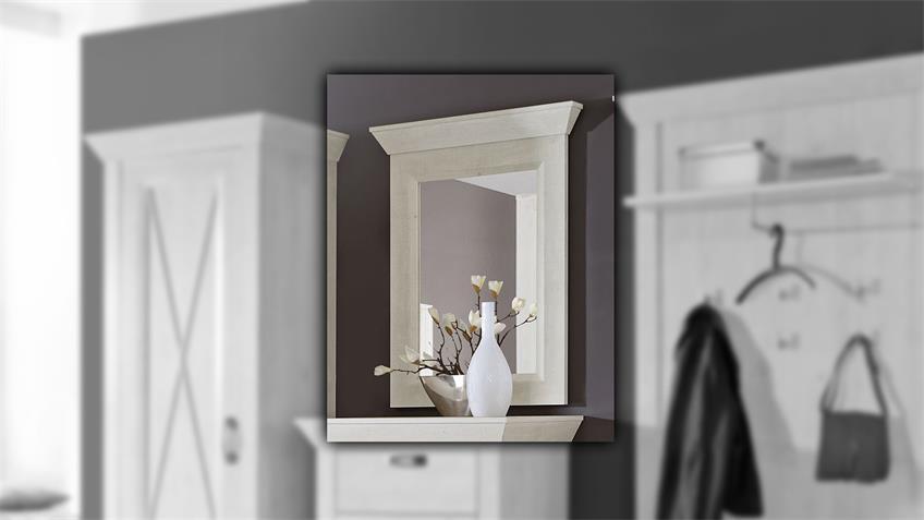 Spiegel KASHMIR Wandspiegel Garderobenspiegel in Pinie weiß