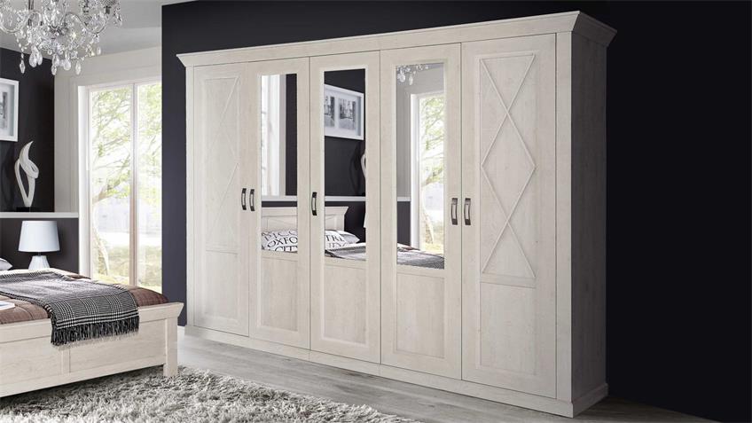 Kleiderschrank KASHMIR Schrank in Pinie weiß mit Spiegel 268