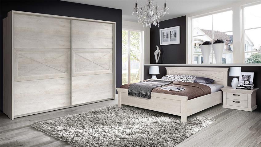 Schlafzimmerset 1 KASHMIR Schrank Bett Nako in Pinie weiß