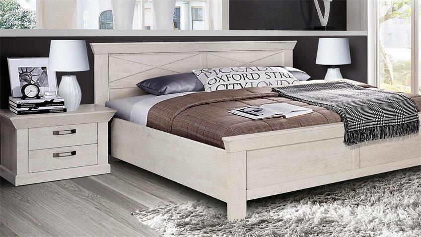Schlafzimmerset 2 KASHMIR Schrank Bett Nako in Pinie weiß