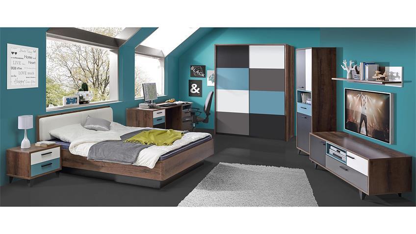 Bett RAVEN Jugendzimmerbett Schlammeiche weiß 140x200