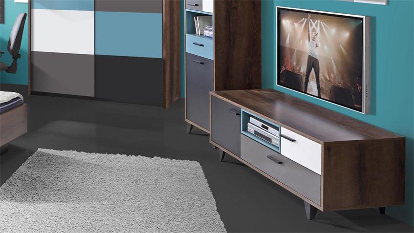 TV-Unterschrank RAVEN in Schlammeiche weiß schwarz grün grau