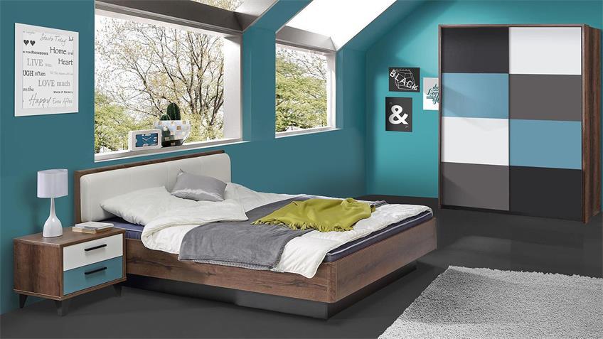 Jugendzimmer 1 RAVEN in Schlammeiche weiß schwarz grün grau