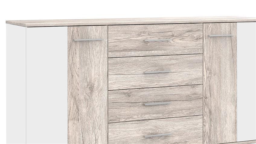 Sideboard PEDINA Kommode in Sandeiche und weiß Hochglanz 164