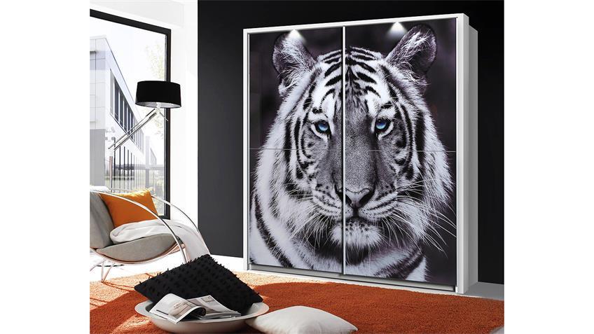 Schwebetürenschrank YANIS weiß Glas mit Tigermotiv 170 cm