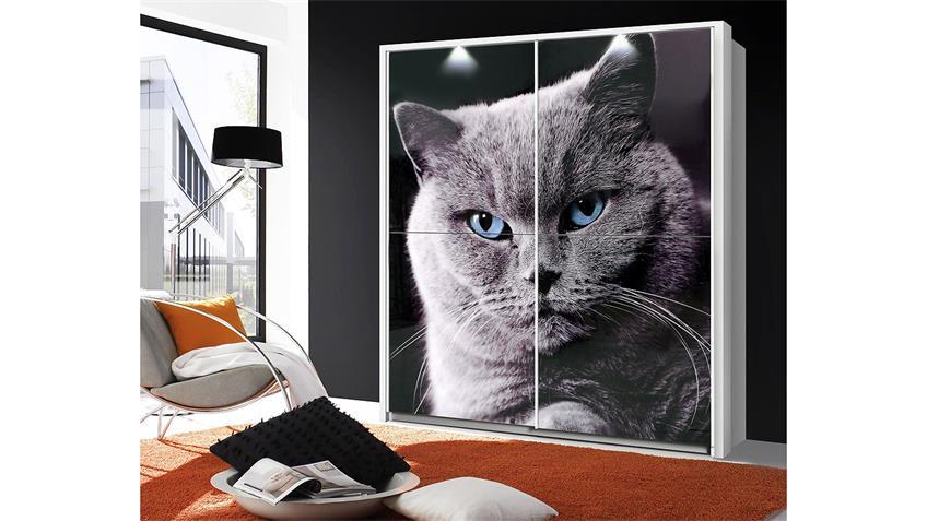 Schwebetürenschrank YANIS weiß Glas mit Katzenmotiv 170 cm