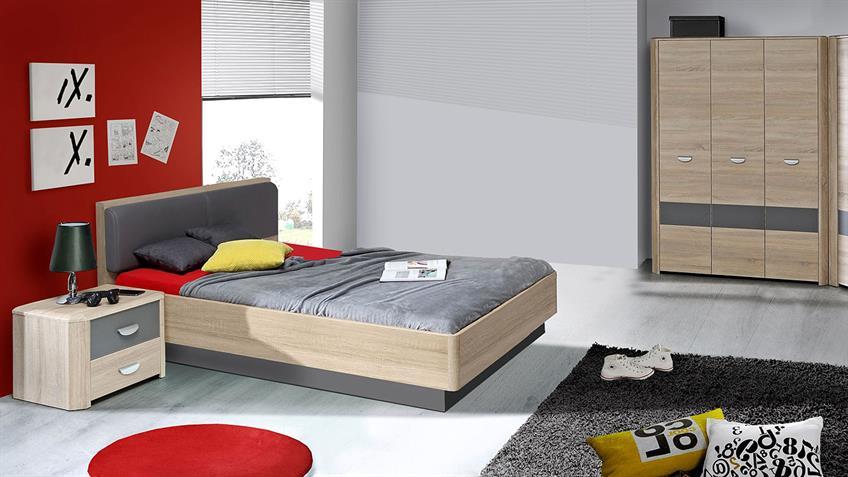 Jugendzimmer 1 YOOK in Sonoma Eiche und grau anthrazit