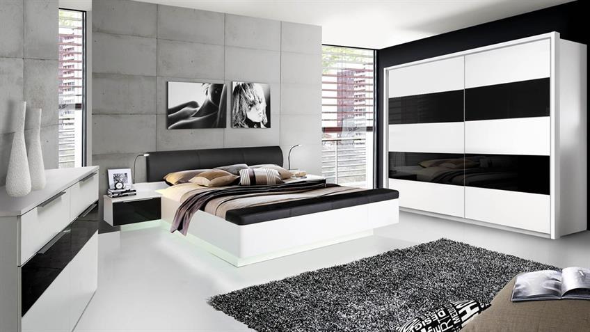 Schlafzimmerset FREEMONT Schlafzimmer weiß Schwarzglas