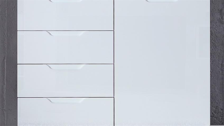 Kommode 1 SIENNA Sideboard Anrichte in weiß Hochglanz
