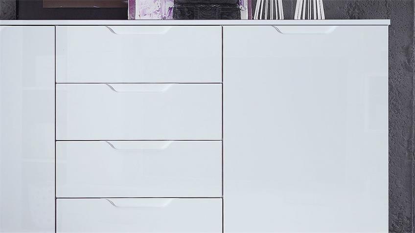Sideboard SIENNA Kommode Anrichte in weiß Hochglanz