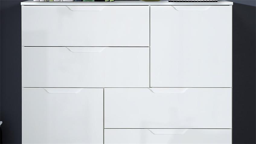 Kommode 2 SIENNA Anrichte Sideboard in weiß Hochglanz