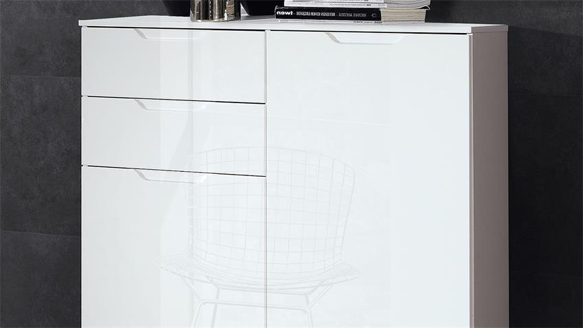 Kommode 3 SIENNA Sideboard Anrichte in weiß Hochglanz