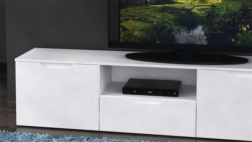 TV-Board SIENNA TV-Unterschrank Lowboard in weiß Hochglanz