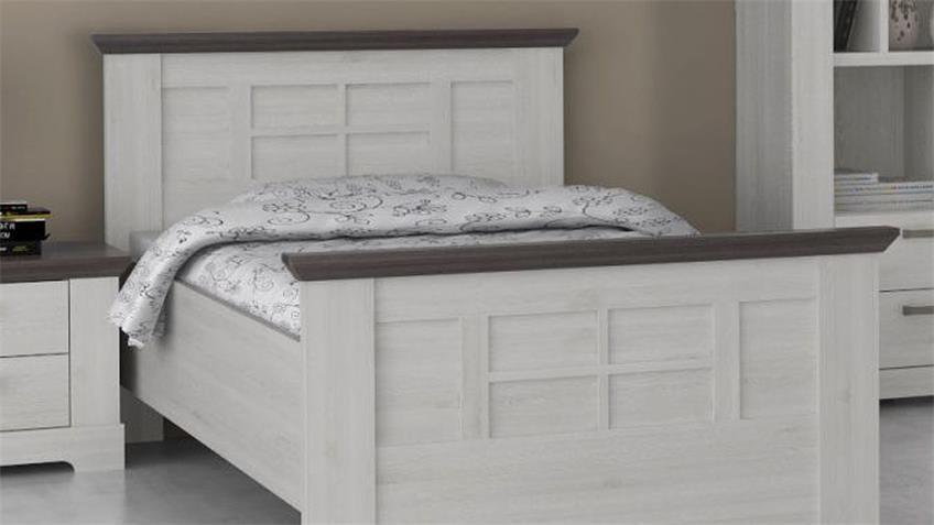 Bett GASPARO Komfortbett Schneeeiche weiß und Pinie grau