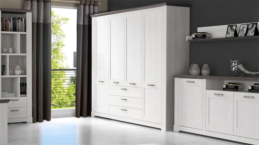 kleiderschrank gasparo schrank schneeeiche wei pinie grau. Black Bedroom Furniture Sets. Home Design Ideas