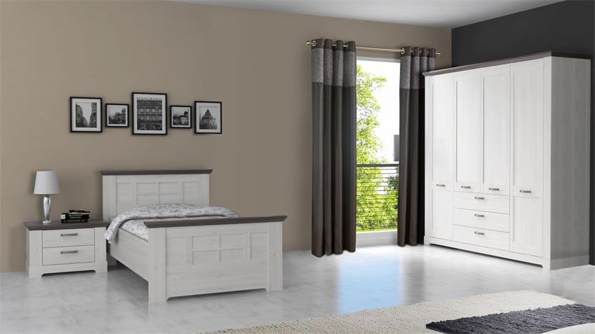 Komfort schlafzimmer gasparo bett schrank schneeeiche wei pinie grau - Schlafzimmer pinie ...