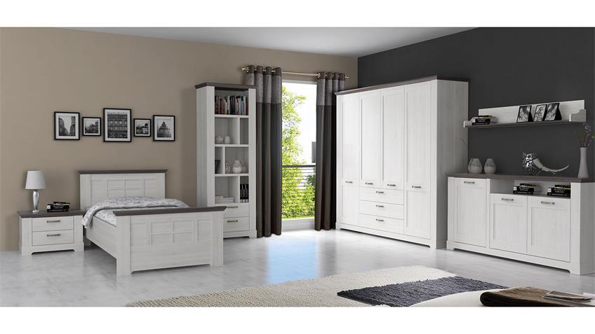 Komfort Schlafzimmer GARLANDO Schneeeiche weiß Pinie grau