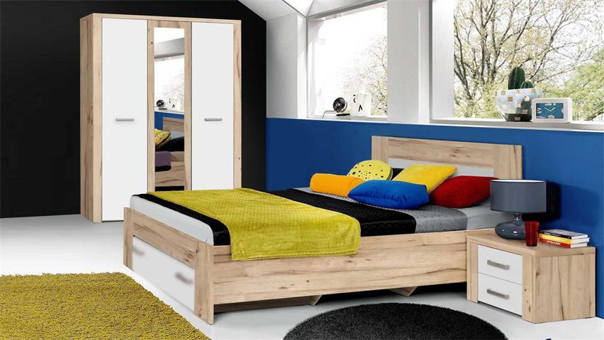 Jugendzimmerset PORTLAND in planked Eiche und weiß