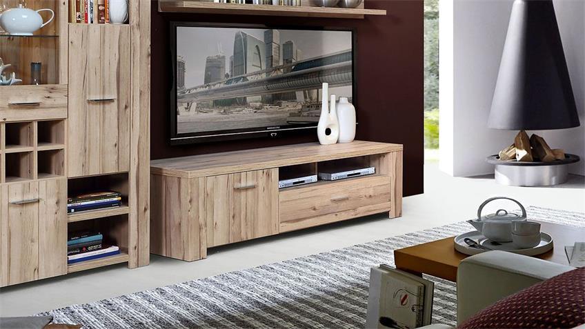 TV-Board CUBANA Lowboard Unterschrank in planked Eiche