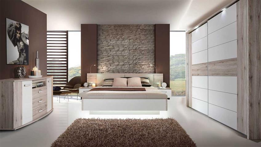 Schlafzimmer RONDINO Sandeiche weiß Hochglanz mit LED