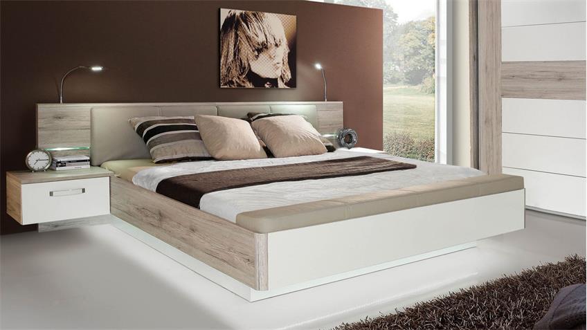 Schlafzimmer 3 RONDINO Komplettset in Sandeiche weiß Hochglanz mit LED