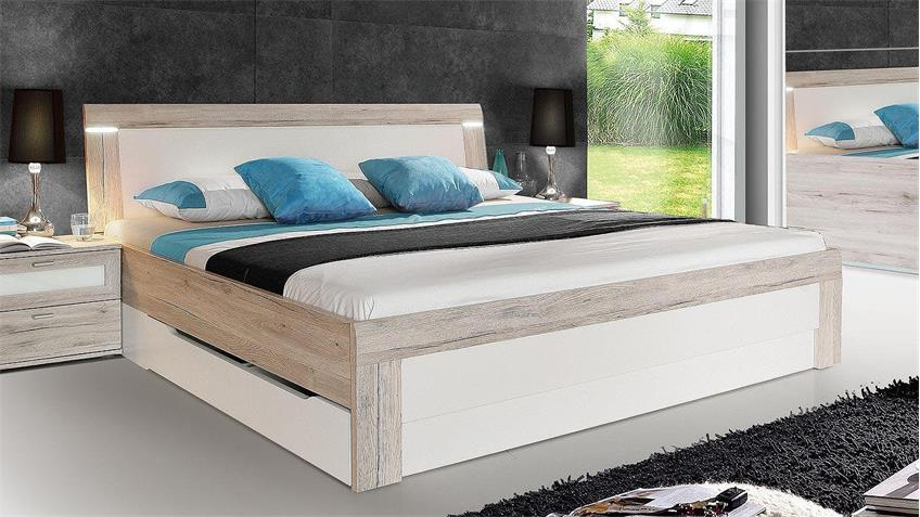 Bett BROADWAYS Schlafzimmerbett Sandeiche weiß mit LED