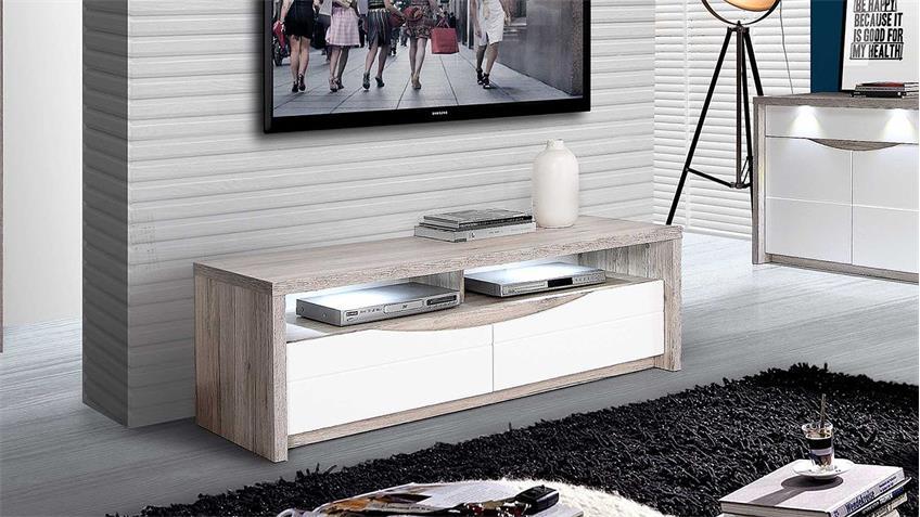 TV-Board SAINT TROPEZ weiß Hochglanz Sandeiche mit LED