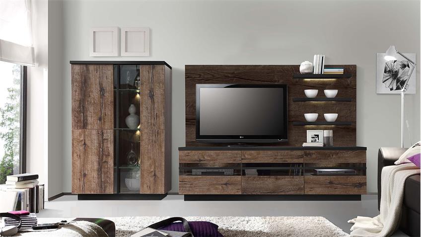 TV-Board ABRO Lowboard Schlammeiche Schwarzeiche mit LED