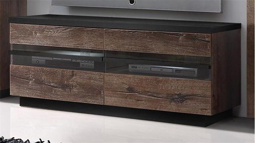 Lowboard ABRO TV-Board Schlammeiche Schwarzeiche mit LED