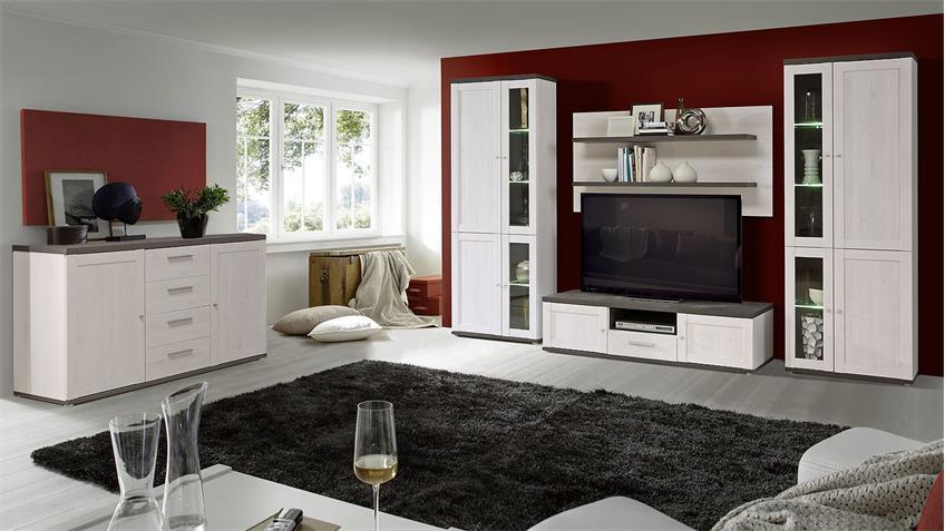 TV-Unterschrank RIVERO TV-Board Schnee Eiche und Pinie grau