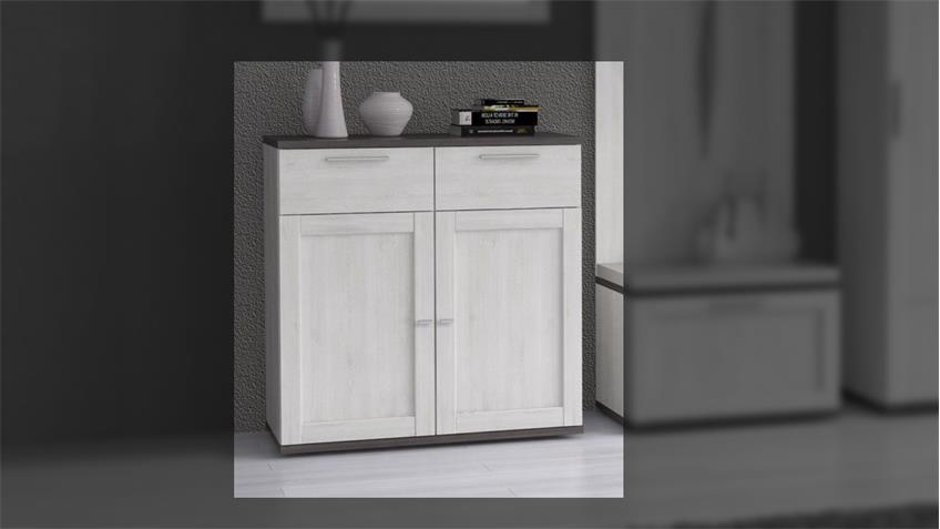 schuhschrank rivero kommode in schnee eiche und pinie grau. Black Bedroom Furniture Sets. Home Design Ideas