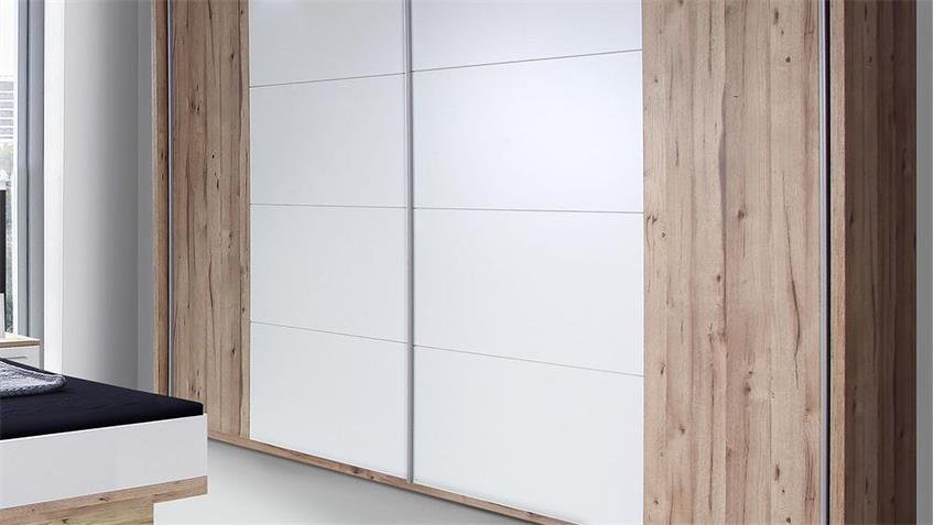 Schwebetürenschrank CALLAS planked Eiche und weiß 269